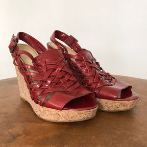 Enzo Angiolini Red Cork Wedge Sandals